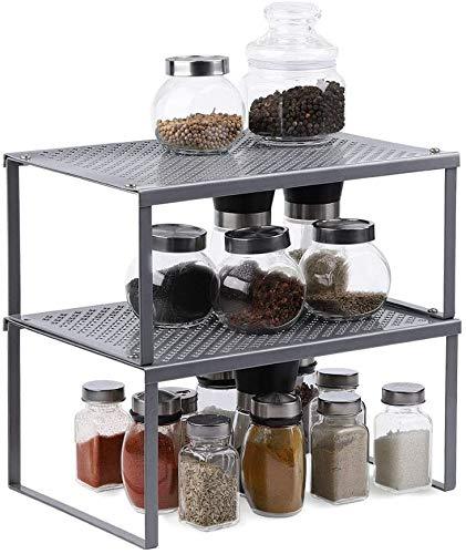 HAITRAL Regaleinsatz im Küchenschrank,Erweiterbarer stapelbarer Organizer im Schrank Arbeitsplatten Stauraum Lösung für Gewürze, Gläser, Kräuter,Silber