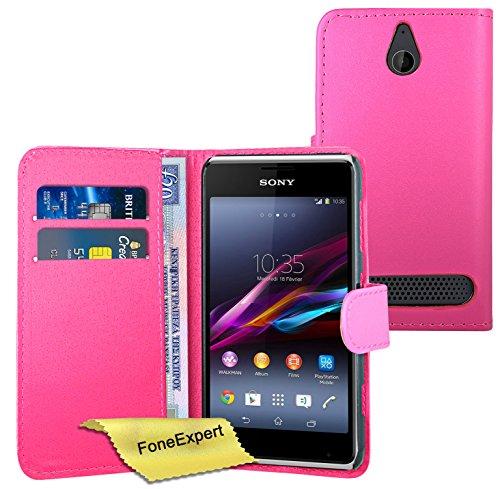 FoneExpert® Wallet Hülle Flip Cover Hüllen Etui Ledertasche Lederhülle Premium Schutzhülle für Sony Xperia E1 + Bildschirmschutzfolie (Rosa)