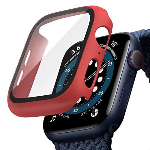 TOPACE Funda para Apple Watch Series 6/SE/Serie 5/Serie 4, con protector de pantalla de cristal blindado, 360°, carcasa rígida ultrafina de policarbonato para iWatch (44 mm, rojo)
