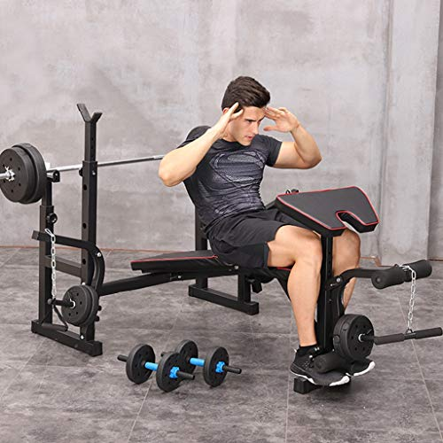 MINIKID Adjustable Weights Bench with Barbell Rack, Home G-ym Multifunction Dumbbell Rack Lifting Bench Press Barbell Rack Pull Up Bar Stands for Indoor Fitness Lifting Frame【US Fast Shipment】 (A)