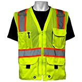 Global Glove GLO-079 - FrogWear HV - High-Visibility Mesh Polyester Surveyors Safety Vest - Medium, Hi Vis Yellow (GLO-079-M)