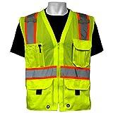 Global Glove GLO-079 - FrogWear HV - High-Visibility Mesh Polyester Surveyors Safety Vest - X-Large