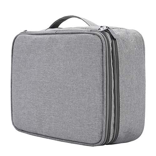 TsunNee - Bolsa organizadora de cables de viaje extragrande de doble capa para accesorios electrónicos portátiles, con 2 compartimentos, color gris