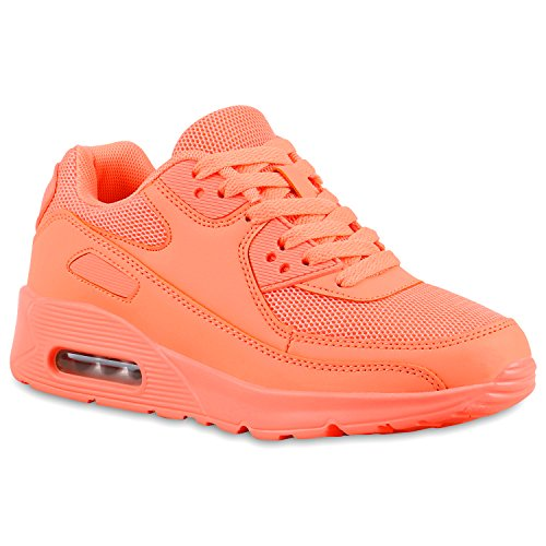 stiefelparadies Damen Sport Lack Sneakers Schnürer Sneaker Low Lauf Runners Neon Leder-Optik CamouflageGlitzer Schuhe 133181 Peach 37 Flandell