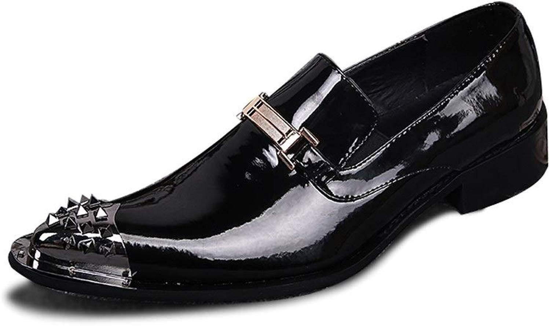 Rui Landed Oxford for Man Formelle Formelle Schuhe Slip On Style OX Lackleder Metalldekor Metallkappe Pflegeleicht Nachtclub (Farbe   Schwarz, Größe   46 EU)  Spielraum