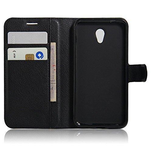 SMTR Vodafone smart prime 7 VF600 Wallet Tasche Hülle - Ledertasche im Bookstyle in Schwarz - [Ultra Slim][Card Slot][Handyhülle] Flip Wallet Hülle Etui für Vodafone smart prime 7 VF600
