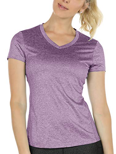 icyzone Workout Shirts Yoga Tops Activewear V-Neck T-Shirts for Women Running Fitness Sports Short Sleeve Tees (M, Lavender)