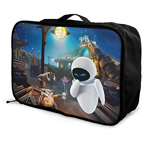 Wall-E - Bolsa de equipaje portátil de gran capacidad, impermeable, ligera, de viaje, hecha de poliéster, con patrones de impresión elegantes y exquisitos