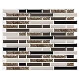 decalmile 10 Pièces Stickers Carrelage 3D 28x23,5cm Marbre Brun Carrelage Adhésif Mural Cuisine Salle de Bain Carreaux de Ciment Mural Décoration