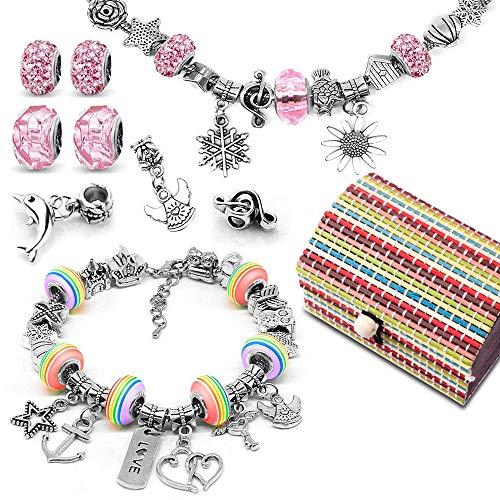 Loisirs Creatifs Cadeau Fille 8 à 12 ans, Kit de fabrication de bracelet avec Pendentifs Charme Chaînes Perles Plaqué Argent pour fabrication de bijoux, fille bracelet loisir creatif jeux pour enfant