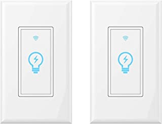 Smart Light Switch, Compatible with Alexa, Google Home IFTTT, App and Voice control, timing function, No Hub required, suitable for 2/3/4 box, neutral wire needs MICMI (Smart Switch 2pack)
