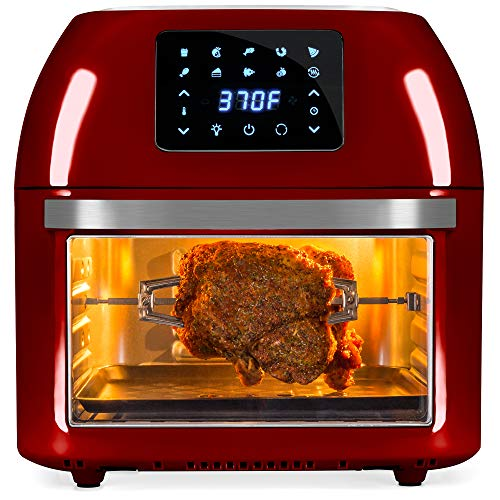 Best Choice Products 16.9qt 1800W 10-in-1 Family Size Air Fryer Countertop Oven, Rotisserie, Dehydrator - Red