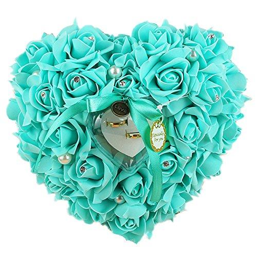 ECOSWAY - Almohada para anillos de boda estilo europeo, para parejas, rosa, lazo, diamante, perla, adorno de boda, forma de corazón, caja de almacenamiento, regalos de boda (rosa rojo) azul celeste
