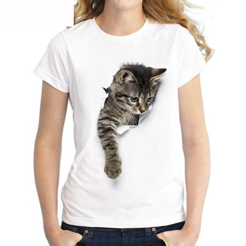 LAEMILIA Damen Mädchen T-Shirt 3D Katze Aufdruck Kurzarm Rundhals Sweatshirt Lose Beiläufig Tops Oberteil Bluse Sommer Frühling Streetwear