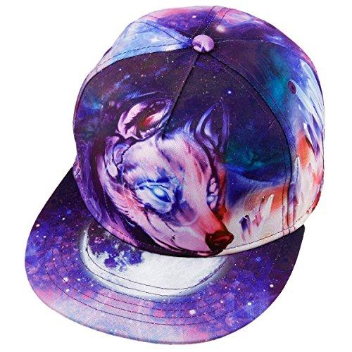 Samtree Unisex Snapback Hats,Adjustable Printed Hip Hop Flat Bill Baseball Cap (Wolf)