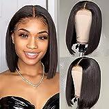PORSMEER Peluca Lace front Corta Recta marrón oscuro Afro Bob para Mujer, Color Natural Brasileña Pelo Completo Sintéticas Pelucas para Cosplay Disfraz o Diariamente