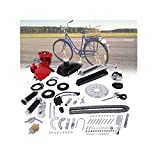 LUOLI 80CC 2 Stroke Bike Bicycle Engine Kit, 26' 28' 80cc Bicycle Engine Kit 2-Stroke Cycle Gas Motor Motorized Engine Bike Bicycle Moped Scooter Kit for Mountain and Road Bikes - US Shipping (Red)