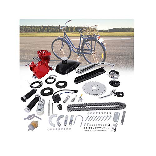 "LUOLI 80CC 2 Stroke Bike Bicycle Engine Kit, 26"" 28"" 80cc Bicycle Engine Kit 2-Stroke Cycle Gas Motor Motorized Engine Bike Bicycle Moped Scooter Kit for Mountain and Road Bikes - US Shipping (Red)"
