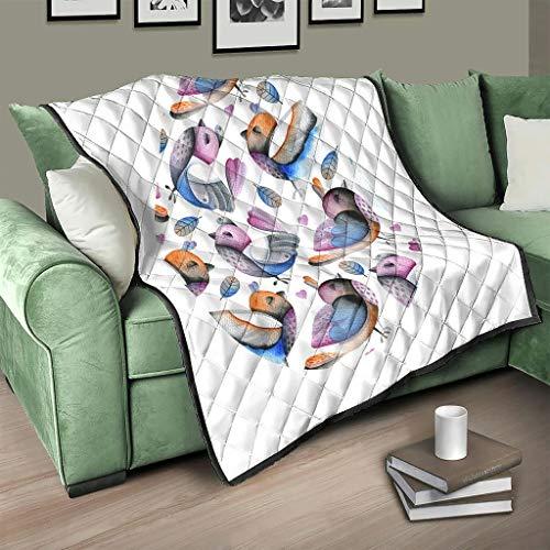 AXGM Colcha acolchada con diseño de huevos de pascua y pájaros, 200 x 230 cm, color blanco