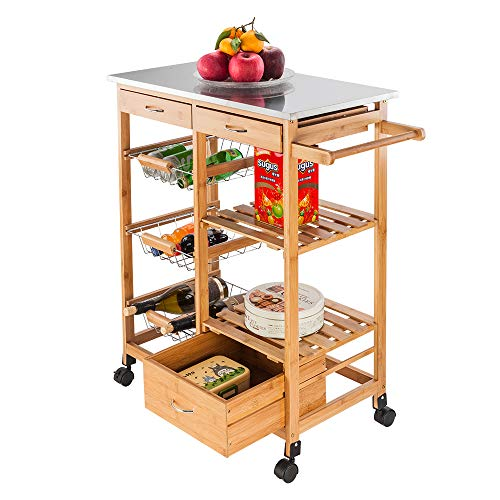 Modern Microwave Cart with Storage, Rustproof Utility Carts, Storage Rack Trolley with 3 Storage Drawers