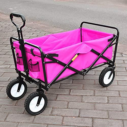 Zhuowei Faltbarer Bollerwagen Handwagen Faltwagen mit UV-Schutz-Sonnendach Transportwagen Gartenwagen Traglast 70 kg 360° Räder - für Gärten, Einkaufsmöglichkeiten,Rosa