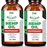Hemp Oil 5,000mg (2-Pack Peppermint) Hemp Oil for Pain Relief Anxiety Sleep Mood Stress– Pure Hemp Oil and Essential Oil –Omega 3-6-9 Oils, Vitamins & Fatty Acids