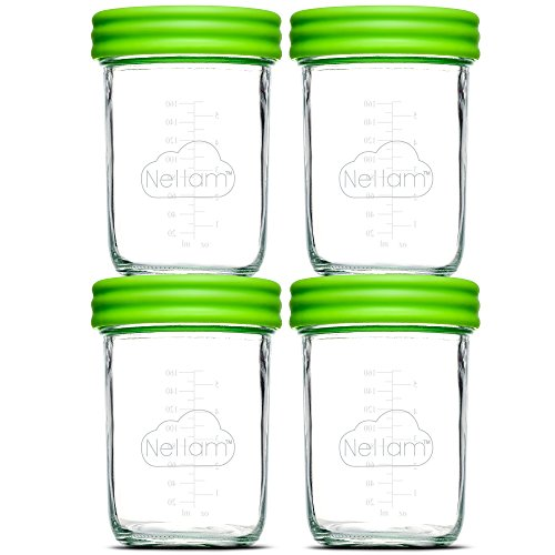Nellam Baby Food Storage Containers - Leakproof, Airtight, Glass Jars for Freezing & Homemade Babyfood Prep - Reusable, BPA Free, Microwave & Freezer Safe (4x8oz, Green)