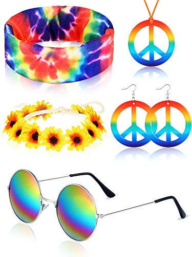 Frienda Hippie Costume Set, Includes Hippie Sunglasses,Rainbow Peace Sign Earrings and Necklace, Flower Headband and Hippie Tie Dye Bandana Headband for 60s or 70s Hippie Accessories
