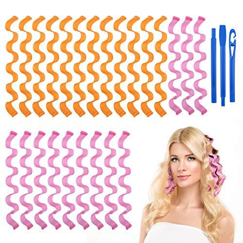 URAQT Lockenwickler, 24 Stück Locken Wave Styling Kit, Haar Lockenwickler Hair Curler mit Styling Haken für alle Frisuren (45cm)