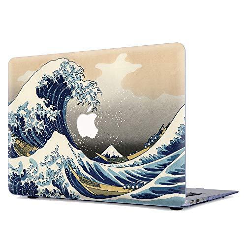 Gusumi Old MacBook Pro 13' Case Retina 2012-2015 Release, Plastic Pattern Matte Hard Shell Case Cover A1502/A1425, Wave