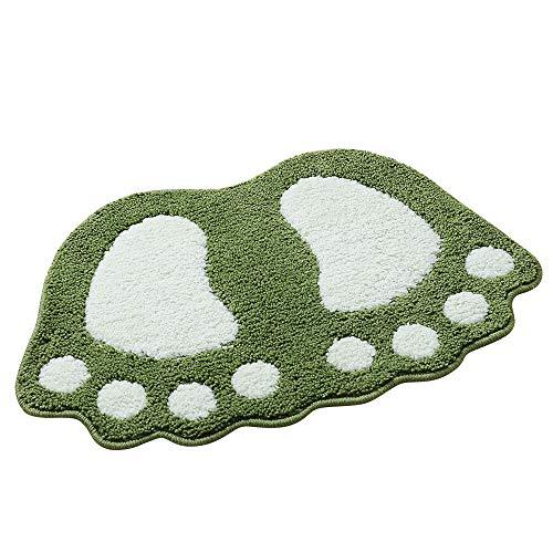 Paramount City Alfombra antideslizante para baño de pies grandes, alfombra de ducha de baño, alfombra de pelo absorbente (58 x 88 cm), color verde