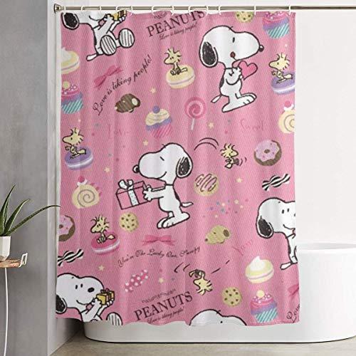 NHUXAYH Duschvorhang Pink Snoopy Kunstdruck, Polyester Bad Dekorationen Kollektion mit Haken 60X72 Zoll