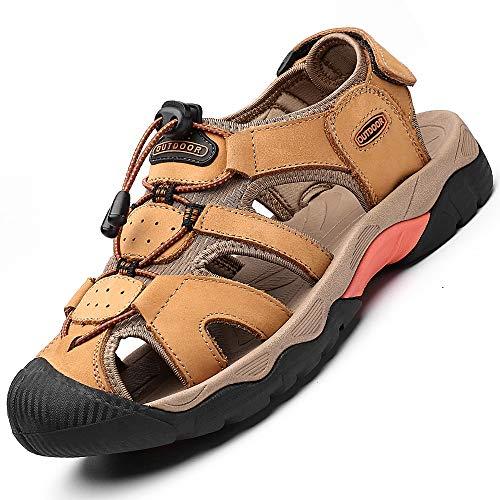 Rokiemen Sandali Uomo Pelle Estivi Sportivi Escursionismo Trekking Sandals Spiaggia Pescatore All'aperto Antiscivolo Traspirante Casual Oro-1 43 EU