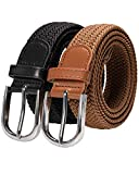 RBOCOTT 2ps Cinturones Elásticos Trenzados,Cinturón de Tejido Elástico, Cinturón Elásticos Trenzado para Hombre y Mujer,Cinturón de Nylon, Cinturón Negro,Cinturón Marrón(135cm)