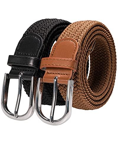 RBOCOTT 2ps Cinturones Elásticos Trenzados,Cinturón de Tejido Elástico, Cinturón Elásticos Trenzado para Hombre y Mujer,Cinturón de Nylon, Cinturón Negro,Cinturón Marrón(125cm)
