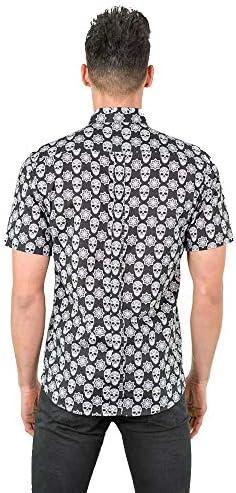 DIVARO - Camisa Estampado Calaveras Manga Corta Color Negro - para Hombre