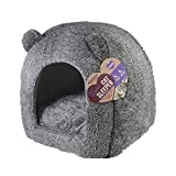 One size cat bed for indoor cats, kittens, puppies and small dogs, machine washable, removable inner cushion, super soft and cosy plush cat igloo cave bed, grey