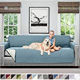 Sofa Shield Original Patent Pending Reversible X-Large Oversized Sofa Protector for Seat Width to 78 Inch, Furniture Slipcover, 2 Inch Strap, Couch Slip Cover Throw for Pet Dogs, Sofa, Seafoam Cream