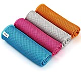 """AIDEA Cooling Towel(12.5"""" x39.5"""")-4PK, Microfiber Cooling Towel, Ice Towel, Instant Chill Cooling Cloth as Chilly Cool Towel for Yoga, Sport, Gym, Workout, Camping, Fitness, Running, Workout"""