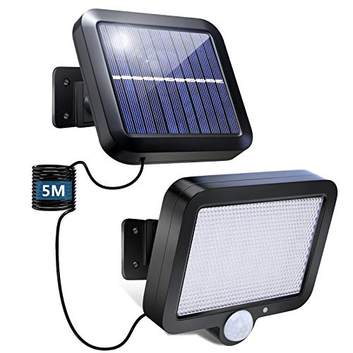 Solarlampen für Außen mit Bewegungsmelder meTweal 56 LED Solarleuchten 16.5ft Kabel 3 Modi IP65 Wasserdichte Superhelle für Garage Carport Terrasse