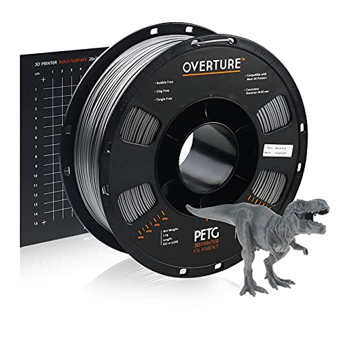 OVERTURE PETG Filament 1.75mm with 3D Build Surface 200 x 200 mm 3D Printer Consumables, 1kg Spool (2.2lbs), Dimensional Accuracy +/- 0.05 mm, Fit Most FDM Printer (Space Grey)