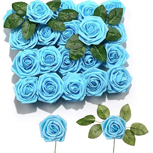 PartyWoo Flores Artificiales, 20 Piezas de Rosas Artificiales con Tallos, Flores Falsas, Flores de Espuma, Flores Rojo Artificiales para Decoración, Decoración Bodas, Decoración Habitaciones (Rojo)