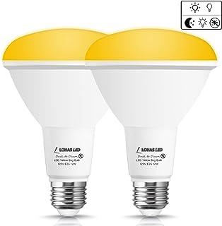 LOHAS BR30 Flood Light, LED Dusk-to-Dawn Yellow Light, 12watt 100W Equivalent Light Bulbs, E26 Base 1000-lumens High Brightness Spotlight, 2000K Not-Dim Light, for Bedroom Balcony Garden, 2 Pack