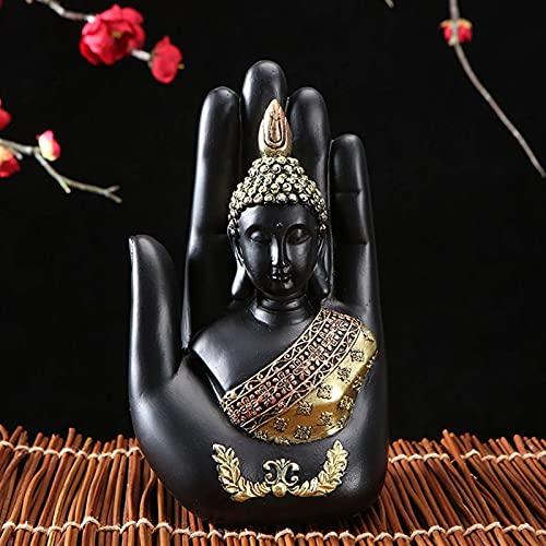 LYTBJ Estatua de Buda Tailandia Escultura de Buda Resina Verde Hecho a Mano Budismo Estatuilla hindú Meditación Decoración para el hogar (Tamaño: 10.5x7x18cm)