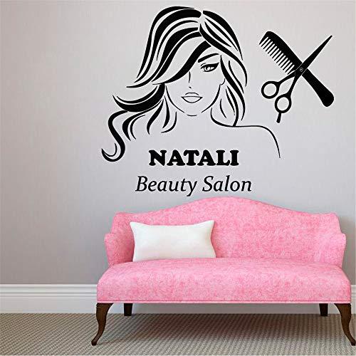 stickers muraux arbre chocolat Nom personnalisé Custom Beauty Salon Ciseaux De Coiffure Femme Motif Décor pour salon de beauté salon de coiffure