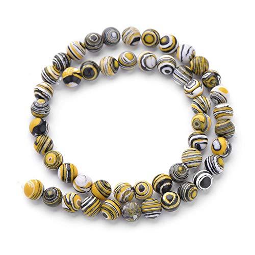 Cuentas redondas de piedra natural de lava mate ojo de tigre, cuentas de piedra suelta de ónice negro para pulseras, collares y joyas, malaquita amarilla, 8 mm, aproximadamente 48 cuentas