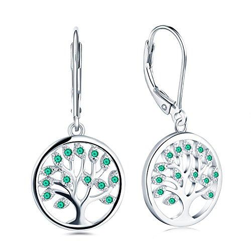 JO WISDOM pendientes árbol de la vida plata 925 mujer con esmeralda sintética verde circonita cúbica AAA