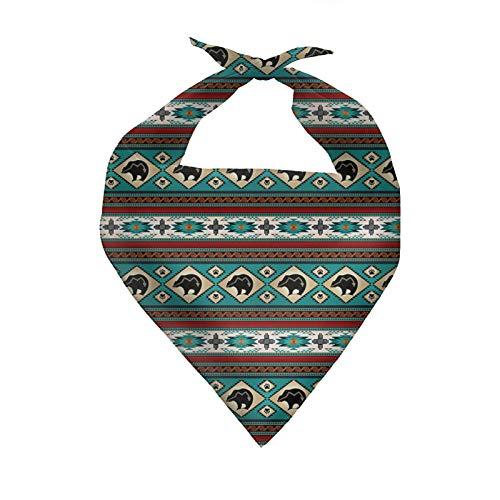 COEQINE Bandanas para perro nio cachorro baberos bufanda para mascota, estilo tribal azteca bandana, accesorios de disfraz, pauelo triangular, lavable, color turquesa