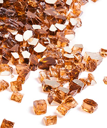 Future Way 30LB Fire Glass, 1/2 Inch Reflective Copper Amber Tempered Glass Rocks for Fire Pit, Fireplace, Fire Table Decorative