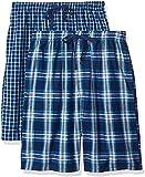 Hanes Men's 2-Pack Woven Pajama Short, Dark Blue, Medium